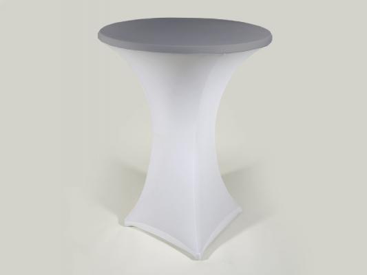 stretchhusse f r stehtisch weiss mit silbernem deckel. Black Bedroom Furniture Sets. Home Design Ideas