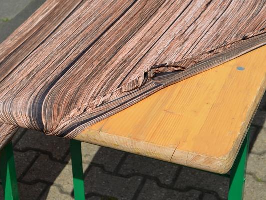 KOMBIPREIS: Bierzeltgarnitur 220 x 50 cm mit Hussen in Holzoptik