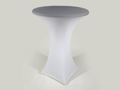 Stretchhusse für Stehtisch weiss mit silbernem Deckel