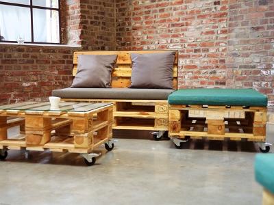 KOMBIPREIS: Paletten-Lounge-Landschaft Dreiteilig gepolstert